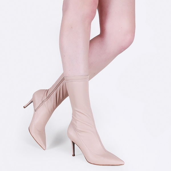 78a99a269e Bota de Couro Stretch Galliano Nude - Cavage
